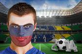 Fã de rússia com pintura no rosto — Fotografia Stock