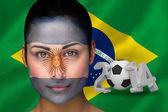Arjantin futbol fan yüz boyama içinde Birleşik resim — Stok fotoğraf