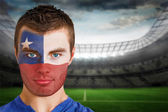 Chile football fan in face paint — Stock Photo