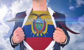 Businessman opening shirt to reveal ecuador flag — Stock Photo