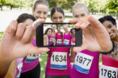 Participants of breast cancer marathon — Stock Photo