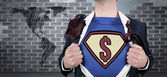 Businessman opening shirt in superhero style — Foto de Stock