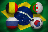 Composite image of group h footballs for world cup — Stock Photo