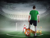 Football player about to take a penalty — Stock Photo