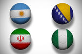 Composite image of group f footballs for world cup — Stock Photo
