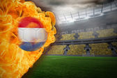 Composite image of fire surrounding dutch flag football — Stock Photo
