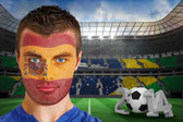 Spain fan with facepaint — Stock Photo