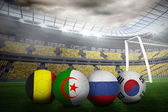 Composite image of footballs in group h colours for world cup — Stock Photo