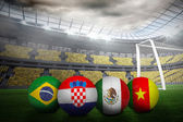 Group a world cup footballs — Stock Photo