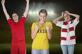 Various football fans — Stock Photo