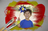 Little boy with pinwheel — Stock Photo