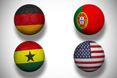 Composite image of group g footballs for world cup — Stock Photo