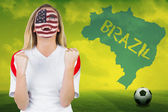 Excited fan in usa face paint — Stock Photo