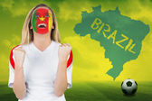 Excited cameroon fan in face paint — Foto Stock