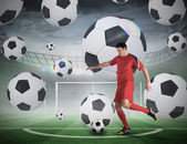 Football player about to take a penalty — ストック写真