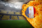 Composite image of fire surrounding france flag football — Stock Photo