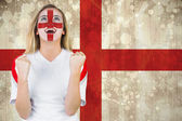 Excited fan england in face paint — Stock Photo