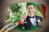 Composite image of groom toasting with champagne — Stockfoto