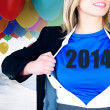 Businesswoman opening her shirt superhero style — Stock Photo