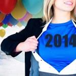 Businesswoman opening her shirt superhero style — Stock Photo #46750987