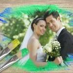 Newlyweds smiling at camera — Stock Photo #46751387