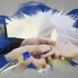 新郎花嫁の指にリングを置くことの合成画像 — ストック写真 #46751887