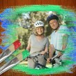 Senior couple on bikes in the park — Stock Photo