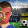 Russia fan with face paint — Stock Photo #46756403