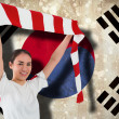 Composite image of football fan waving red and white scarf — Stock Photo #46757863