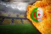 Composite image of fire surrounding algeria flag football — Stock Photo