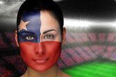Samengestelde afbeelding van prachtige chili fan in gezicht schilderen — Stockfoto