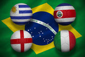 Composite image of group d footballs for world cup — Stock Photo