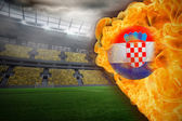 Composite image of fire surrounding croatia flag football — Stock Photo