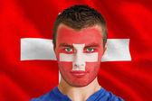 Swiss fan with facepaint — Stock Photo