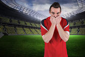 Nervous football fan looking ahead — Stock Photo