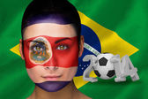 Composite image of costa rica football fan in face paint — Stock Photo