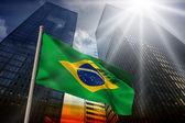 Composite image of brazil national flag — Stock Photo
