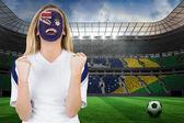 Nadšený austrálie ventilátor v programu malování obličeje — Stock fotografie