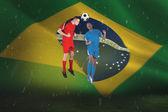 フットボール選手はボールを取り組むの合成画像 — ストック写真