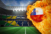 Composite image of fire surrounding chile flag football — Stock Photo