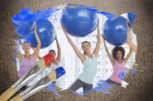 Composite image of fitness class at the gym — Stock Photo