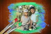 Starší pár na kolech v parku — Stock fotografie