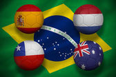 Composite image of group b footballs for world cup — Stock Photo