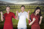 Various football fans — Stock Photo