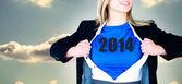 Businesswoman opening her shirt superhero sty — Stock Photo