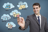 Businessman writing flowchart — Stock Photo
