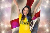 Fan piłki nożnej podekscytowany brasil tshirt gospodarstwa — Zdjęcie stockowe