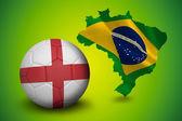 Samengestelde afbeelding van voetbal in Engeland kleuren — Stockfoto