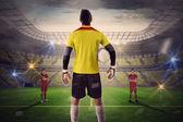Goalie facing opposition — Stock Photo