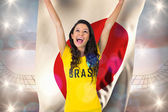 Excited football fan in brasil tshirt holding glag — Stock Photo